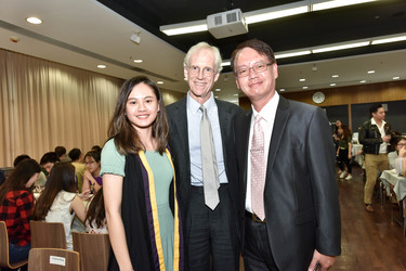 Frances Kang with her father and Professor Rawlins