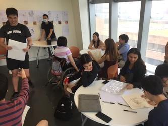 Students participate in a workshop conducted by Beyond Visual Projects